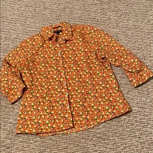 Lands End No Iron Orange Casual Shirt